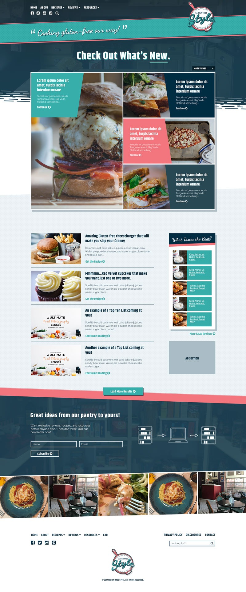 Gluten-Free Style. Mockup for food blog concept called Gluten-free Style.