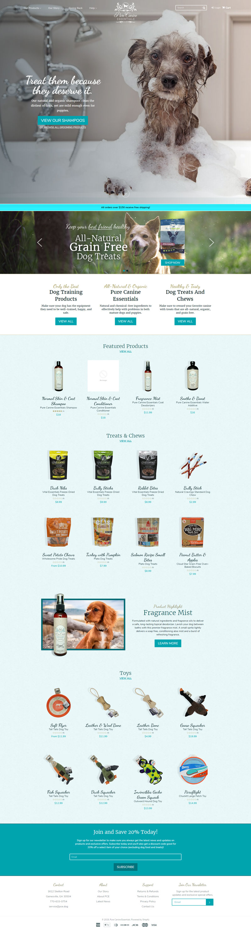 Pure Canine Essentials. Ecommerce mockup for Shopify-based website selling premium dog treats and grooming products.