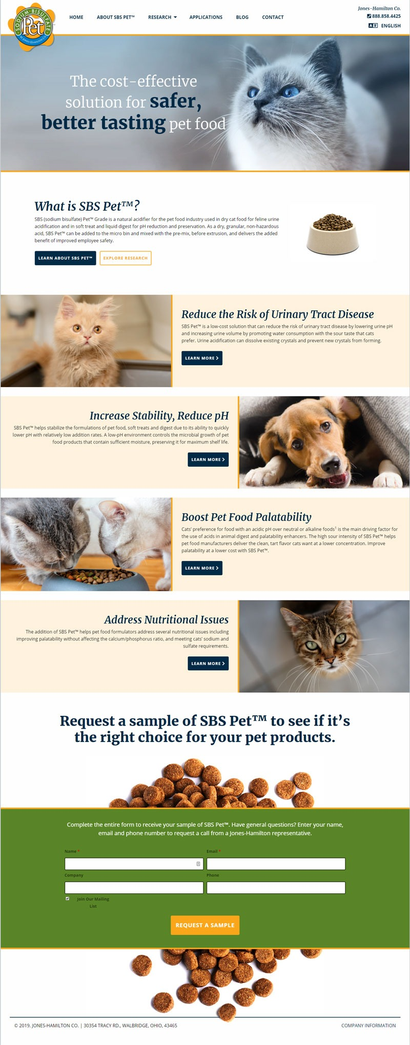 Mockup for B2B client website for pet food additive called SBS Pet.